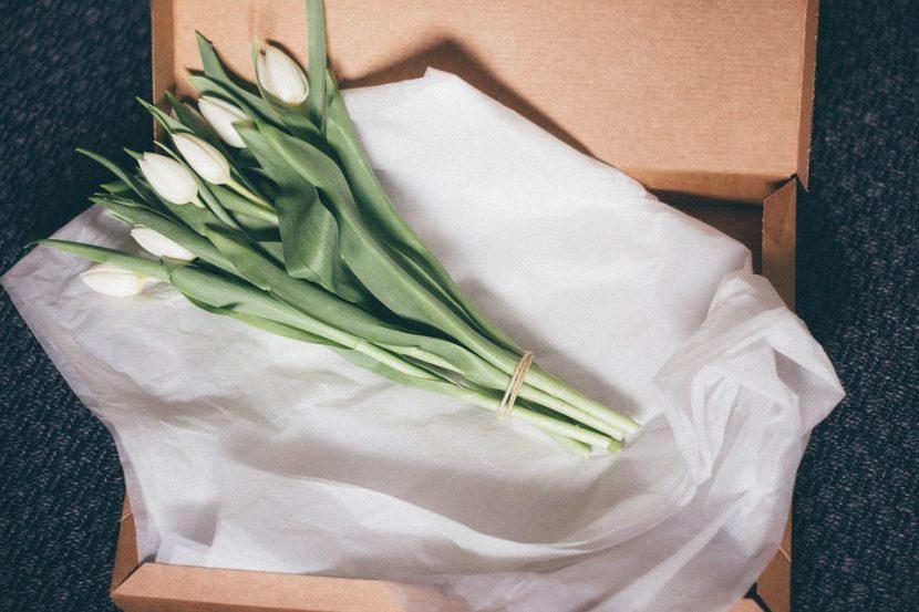 Białe tulipany Dostarczone przez pocztę kwiatową