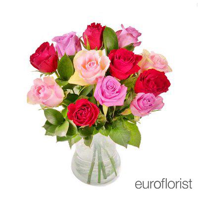 Bukiet 12 róż kolorowych
