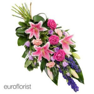 Wiązanka pogrzebowa w kolorach różu i filoletu
