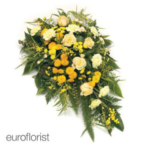 """Wiązanka pogrzebowa """"Wszyscy Święci"""" w żółtych odcieniach"""