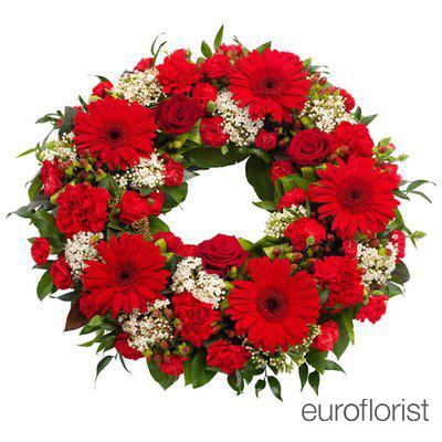 Wieniec pogrzebowy w kolorach czerwieni (wieniec rzymski)