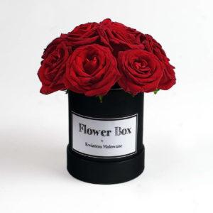 Flower Box Łódź - czarne małe okrągłe pudełko z kwiatami z czerwonymi różami