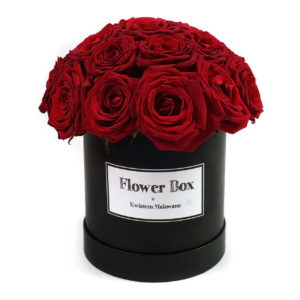 Flower Box Łódź - czarne średnie okrągłe pudełko z kwiatami z czerwonymi różami