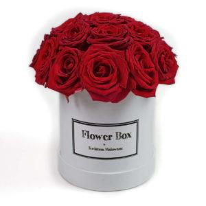 Flower Box - białe średnie okrągłe pudełko z kwiatami z czerwonymi różami