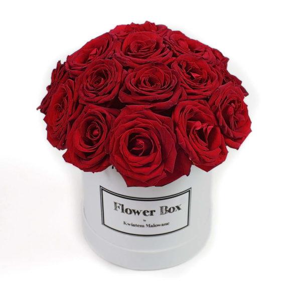 Flower Box - białe średnie okrągłe pudełko z kwiatami z czerwonymi różami - widok 2