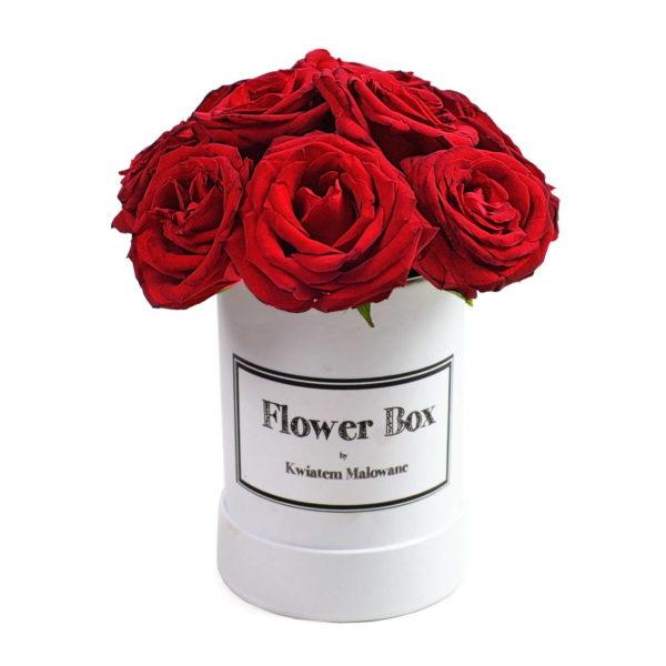 Flower Box Łódź - białe małe okrągłe pudełko z kwiatami z czerwonymi różami