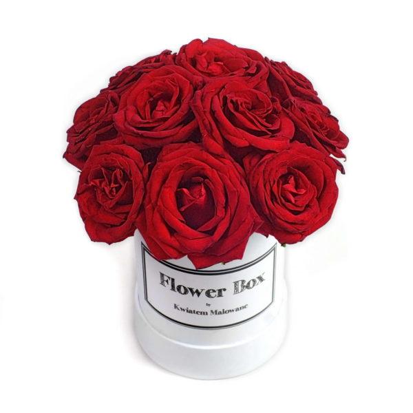 Flower Box Łódź - białe małe okrągłe pudełko z kwiatami z czerwonymi różami widok 2