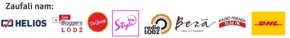 Baner pokazujący firmy które nam zaufały: TVN Radio Łódz, DHL, DaGrasso,