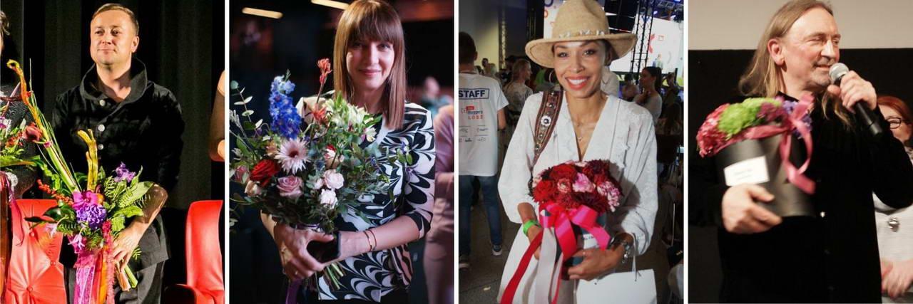 Poczta Kwiatowa i Kiwaciarnia Internetowa Kwiatem Malowane - znane osoby trzymające kwiaty