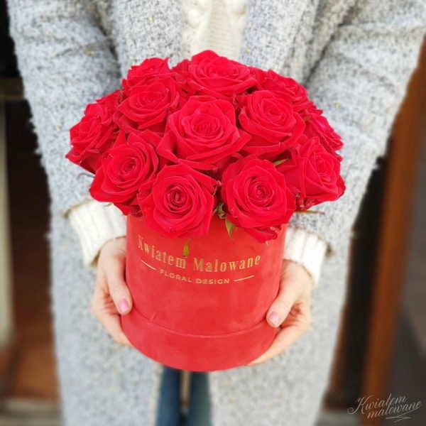Flower Box sredni czerwony flokowany czerwona roza trzymany w rękach na jasnym tle w kwiaciarni Kwiatem Malowane Poczta Kwiatowa