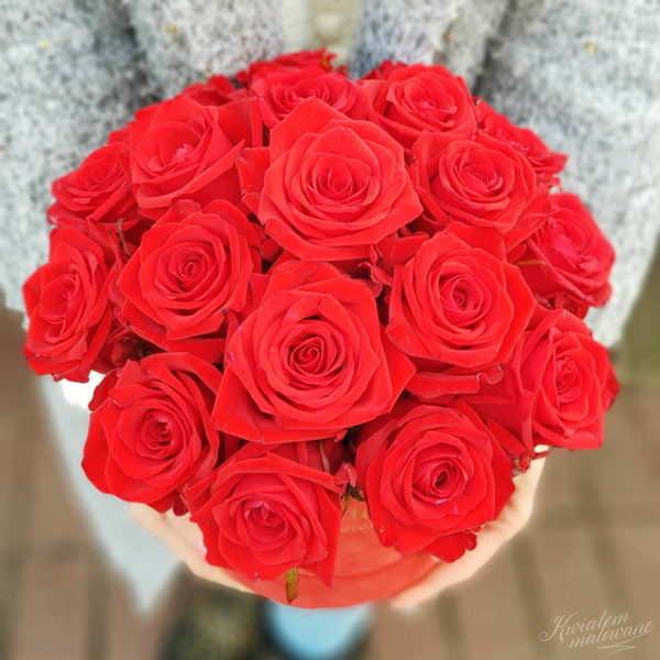 Flower Box sredni czerwony flokowany trzymany w rękach na jasnym tle widok od góry w kwiaciarni Kwiatem Malowane Poczta Kwiatowa