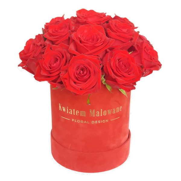 Flower Box sredni czerwony flokowany czerwona roza na białym tle w kwiaciarni Kwiatem Malowane Poczta Kwiatowa