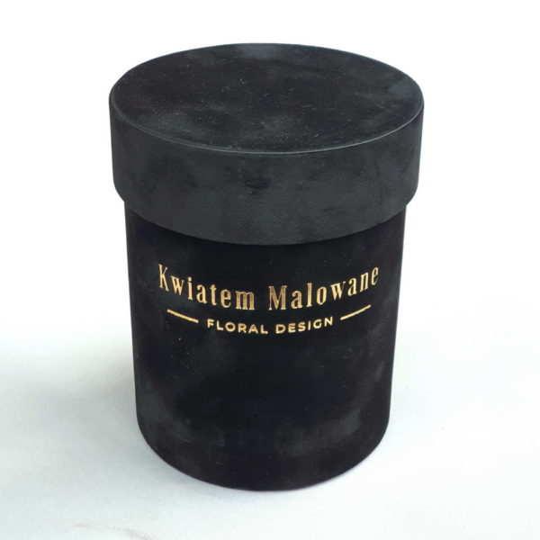 Pudelko Czarne Flower Box Małe Flokowane